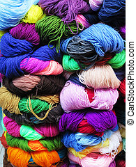 Natural dyed wool yarn in the peruvian Andes at Cuzco Peru