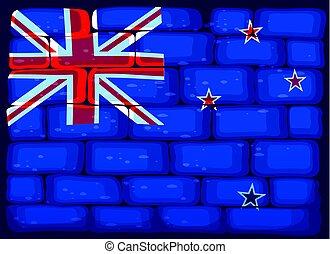 New Zealand flag painted on brickwall illustration