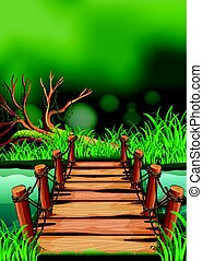 Scene with wooden bridge across the river illustration