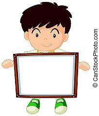Boy holding white board illustration