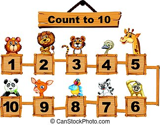 Counting numbers one to ten with animals