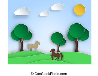 Sunny nature landscape with trees, meadow, horse in paper art style.