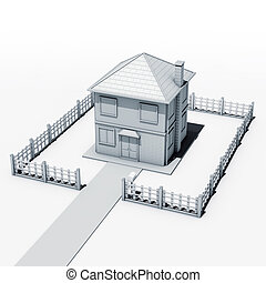House yard - Illustration 3D, house yard and fence