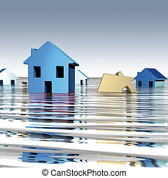 Homes water - 3D rendering, homes with underwater