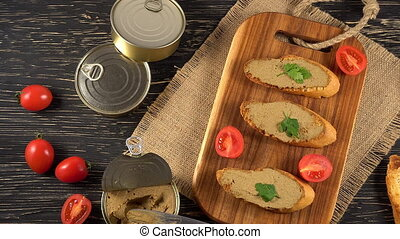 Fresh pate with bread on wooden table - Fresh pate with...