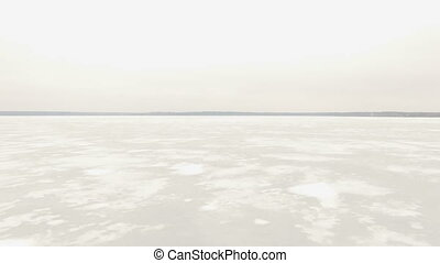 Aerial shot of frozen lake