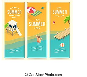 isometric summer banners