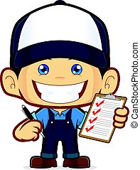 Mechanic holding pen and clipboard