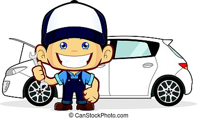 Mechanic repairs car - Clipart picture of a mechanic cartoon...