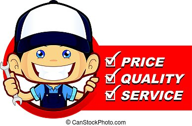 Mechanic with service list - Clipart picture of a mechanic...