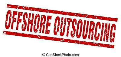 square grunge red offshore outsourcing stamp