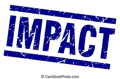 square grunge blue impact stamp