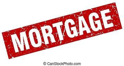 square grunge red mortgage stamp