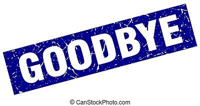 square grunge blue goodbye stamp