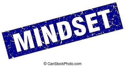 square grunge blue mindset stamp