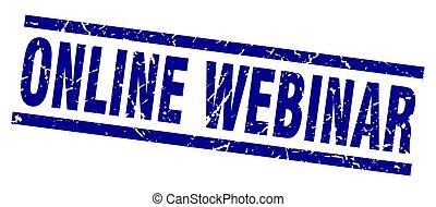 square grunge blue online webinar stamp