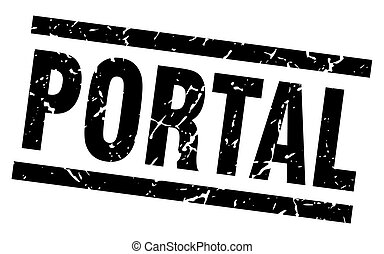 square grunge black portal stamp