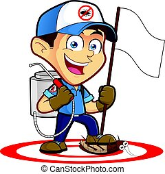 Exterminator or pest control holding flag - Clipart picture...