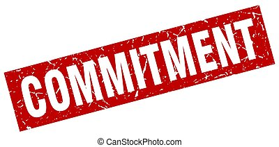 square grunge red commitment stamp