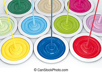 Paint bucket filling - 3D rendering, Multi-coloured filling...