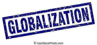 square grunge blue globalization stamp