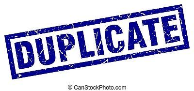 square grunge blue duplicate stamp