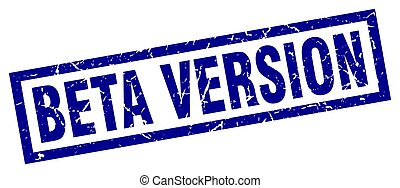 square grunge blue beta version stamp