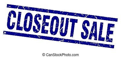 square grunge blue closeout sale stamp