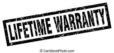square grunge black lifetime warranty stamp