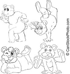 Doodle animal character of grizzly bear illustration