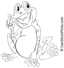 Doodle animal outline of happy frog