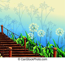 Scene with grass and wooden bridge illustration