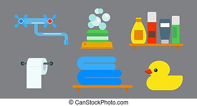 Bath equipment icons shower flat style colorful clip art...
