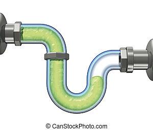gel drain pipe - 3d render, gel drain pipe on withe...