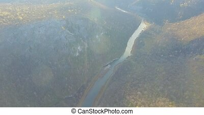 Ural forest, rock, mountain and river. Aerial view - Aerial...