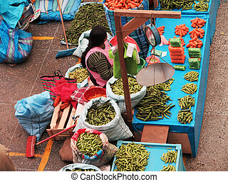 Women in the market in Urubamba in the Sacred Valley near...