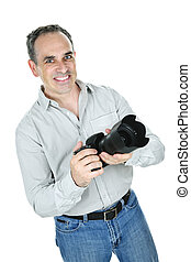 Photographer with camera - Portrait of male photographer...