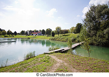 view on the lake on sunny day