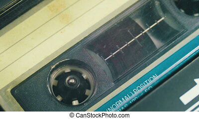 Cassette Tape with a White Blank Label - Audio Tape. Vintage...