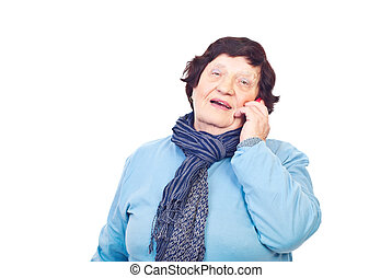 Aged woman speaking by phone mobile
