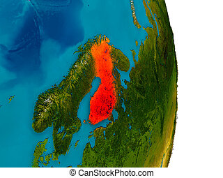 Finland on model of planet Earth - Finland highlighted in...