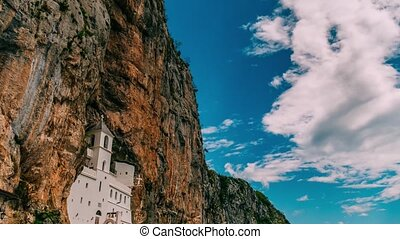 Ostrog monastery in Montenegro. The unique monastery in the...