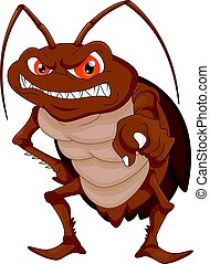 angry cockroach cartoon - vector illustration of angry...