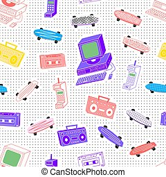 Pattern sets 80's 90's  background with dots