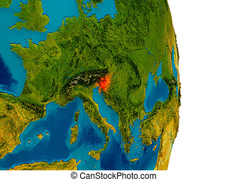 Slovenia on model of planet Earth - Slovenia highlighted in...