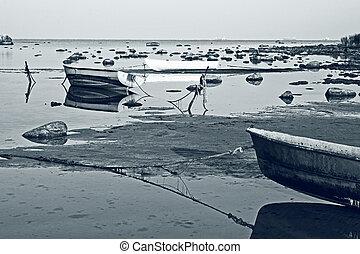 Fishing boats on seacoast