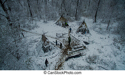 Life in the tipi at winter on Ural mountain - Aerial view...