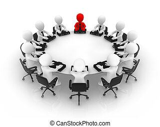 The leader and his team at a round table.