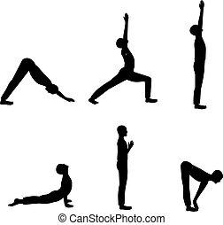 Set of men yoga poses