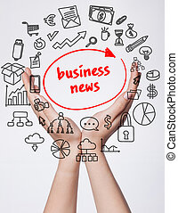 Technology, internet, business and marketing. Young business woman writing word:business news